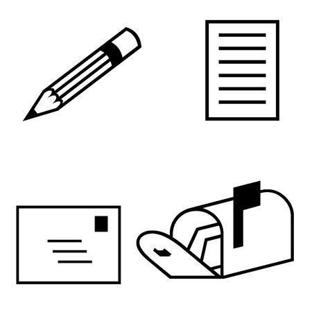 lapiz y papel: Pencil paper letter and mailbox icons
