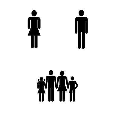 Man woman family icons on white background Stok Fotoğraf