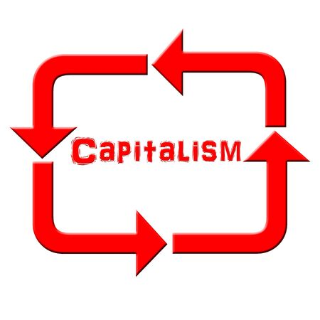 capitalism: Reciclaje de flecha con el texto capitalismo Foto de archivo
