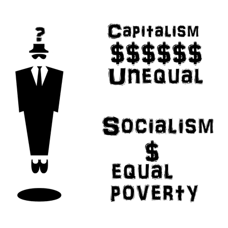 socialism: Businessman capitalism and socialism illustration Stock Photo