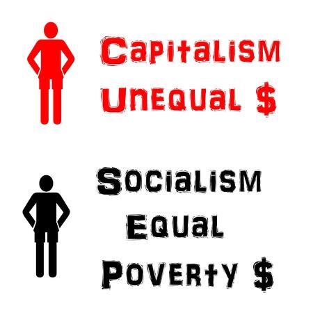 資本主義と社会主義の図 写真素材