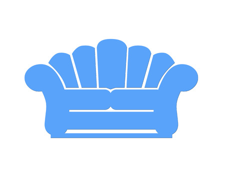 davenport: Blue loveseat icon on white background