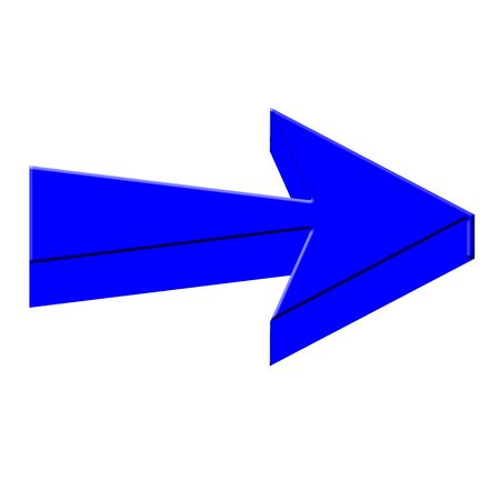 Blue 3D arrow on white background
