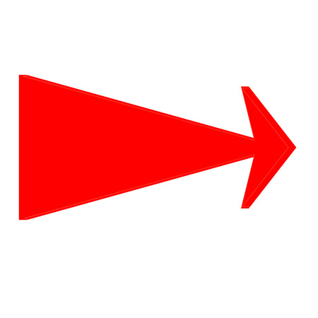 Red 3 D arrow icon on white background