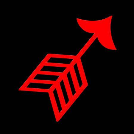 黒の背景に赤の 3 D 矢印