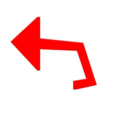 Red  arrow on white background Imagens