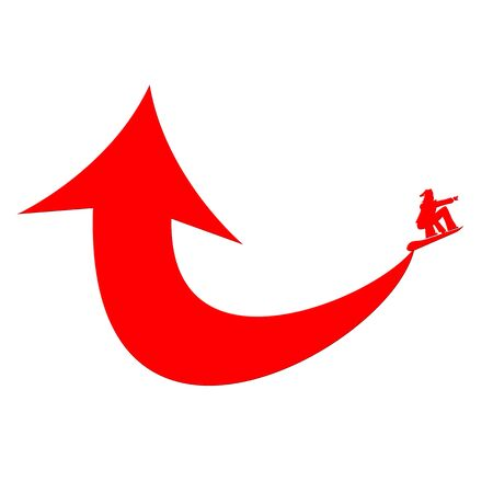 Red arrow and snowboarder illustration Stock Photo