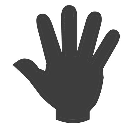 Black hand icon on white background