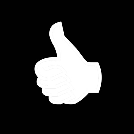 White thumb up icon on black background Reklamní fotografie