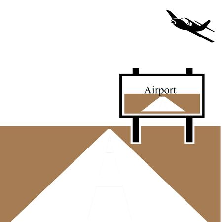 Plane landing strip and airport sign illustration