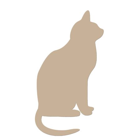 Brown cat icon on white background Imagens