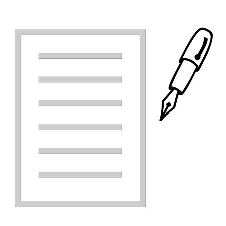紙とインクのペンの図