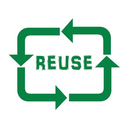 pointed arrows: Green recycle arrows with reuse text illustration Stock Photo