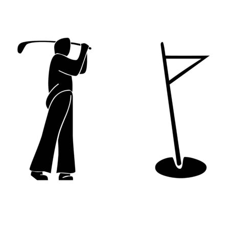 Golfer swing and flag pole illustration