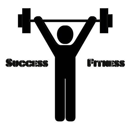 levantando pesas: 3 D Man lifting weights illustration