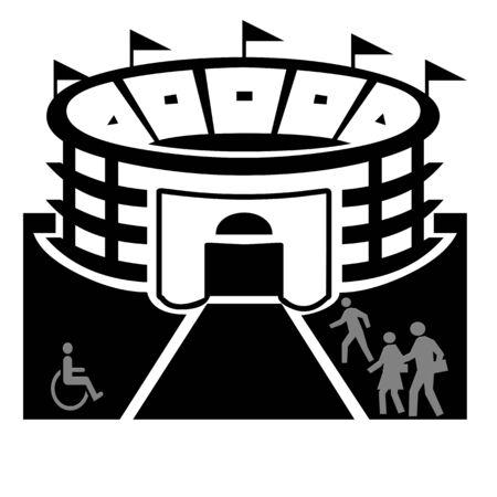Stadion en mensen illustratie