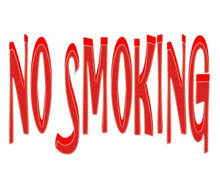 3D No smoking textured text on white