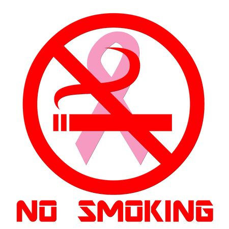 Breast cancer ribbon with no smoking symbol