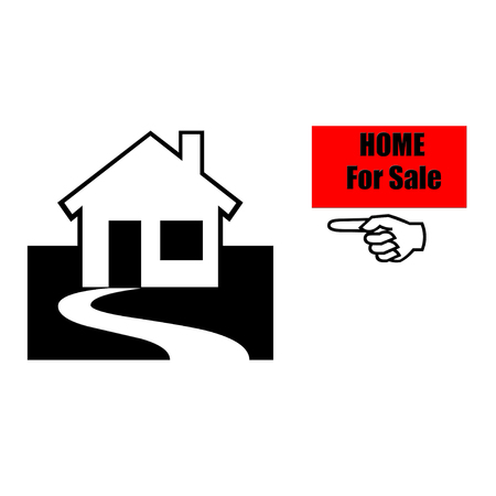 Home for sale text  with finger pointing illustration