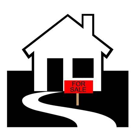 Haus zu verkaufen Illustration Standard-Bild - 71820296