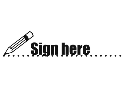 Pencil icon  and sign here text on dotted line Stock Photo
