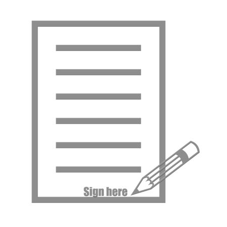 autograph: Paper pencil and sign here text illustration