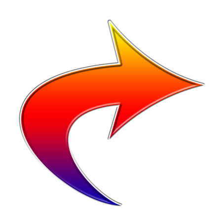 Colorful curved arrow icon Imagens