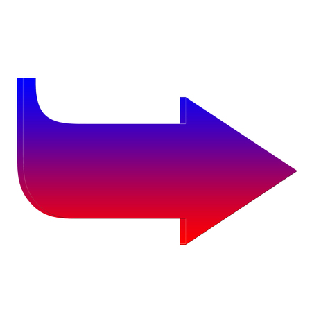 Blue and red  curved arrow icon Stok Fotoğraf
