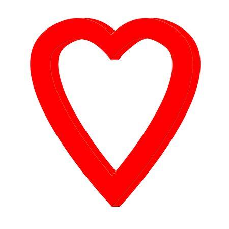 Red 3D heart picture frame illustration Stock fotó
