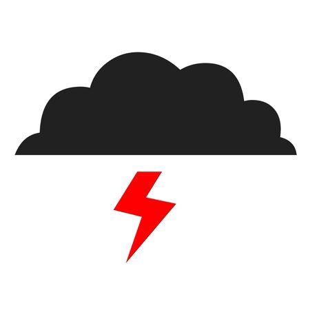 Cloud and lightning illustration on white background