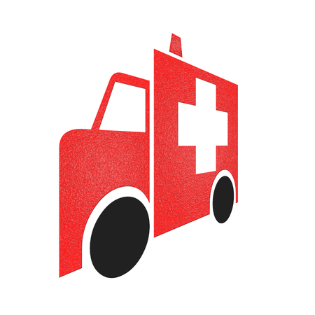 Red Ambulance icon on white background