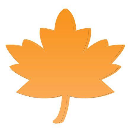 3D Yellow orange leaf icon Stock Photo