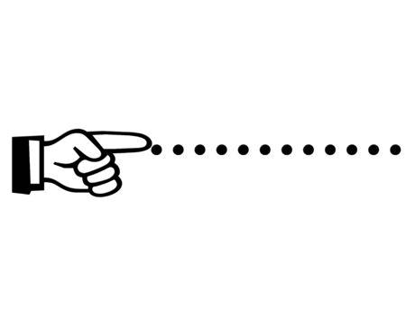 Vinger die pictogram op stippellijn. Stockfoto