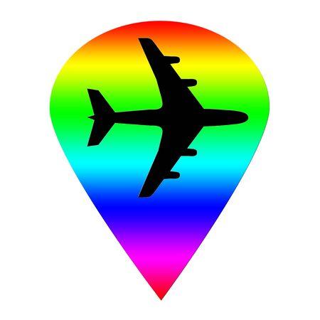 Rainbow transportation pointer and plane illustration Фото со стока