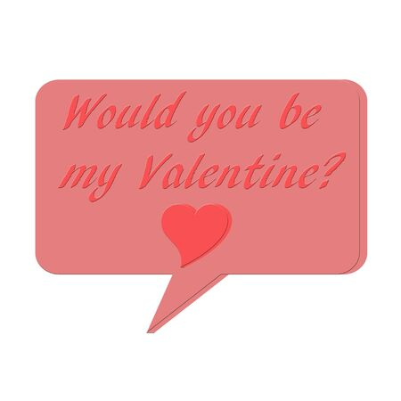 3 D Talk bubble with would you be my Valentine text and heart symbol