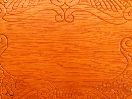 Horizontal photo of wood grain and design on chair back Stock Photo