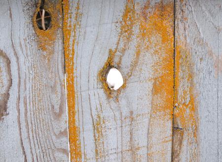 節穴で古い木製の塀の横の写真 写真素材