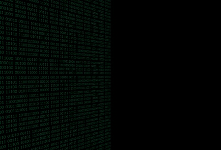 Black background with a binary flow. Vector illustration