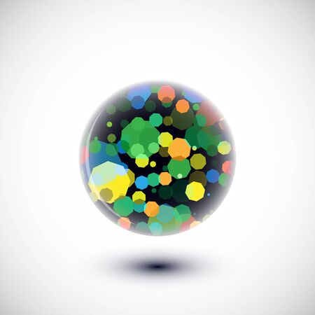 Abstract sphere illustration with multicolor elements inside.