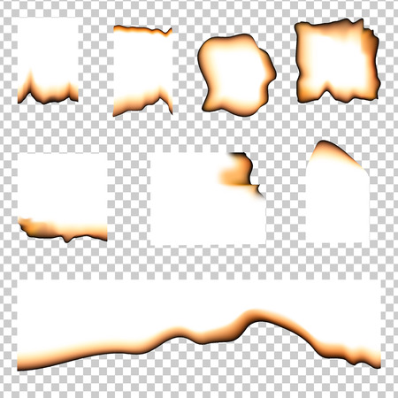Set of burned pieces of paper on transparent background. Isolated vector element for design