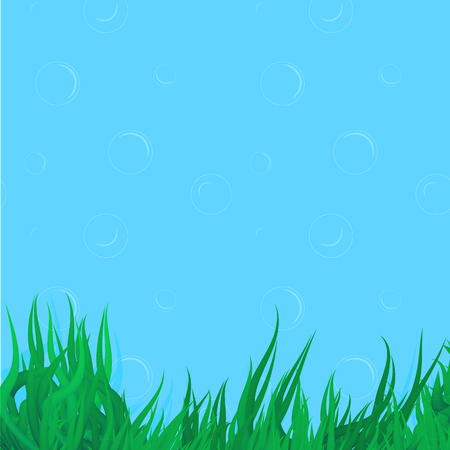 Vector algae elements on seamless background with bubbles. Illustration for various design purposes