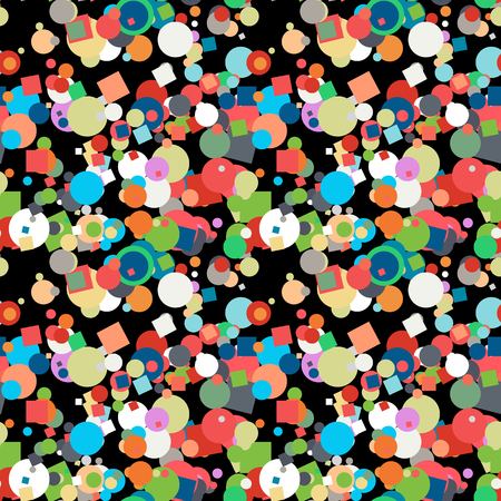 Seamless confetti pattern on black background. Multicolor vector texture with scattered elements.