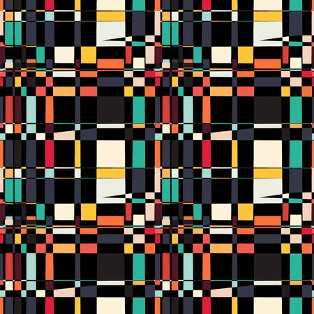 mess: Seamless geometric pattern. Abstract background with messy rectangle elements. Colorful squares on black backdrop Illustration