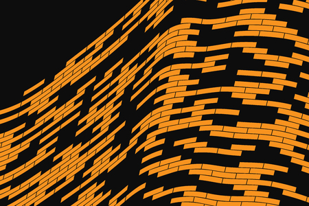 snood: Abstract vector background. Orange grid stretched over the black background. Geometrical Illustration Illustration