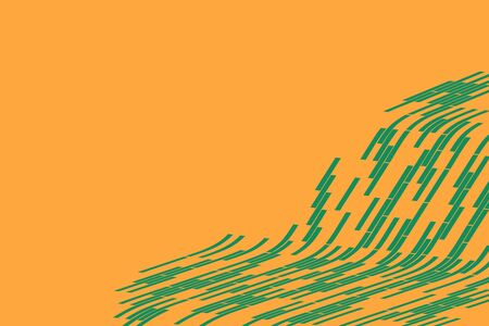 snood: Abstract vector background. Part of the green grid fading on the orange background. Geometrical Illustration