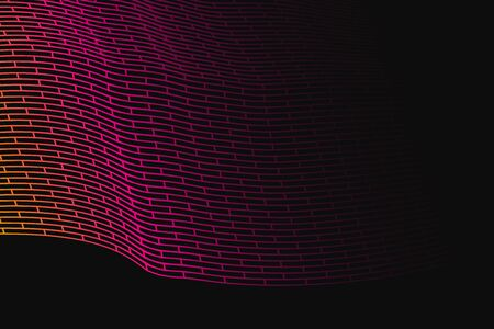 meshwork: Abstract vector background. Colorful gradient grid stretched over the dark background. Geometrical Illustration