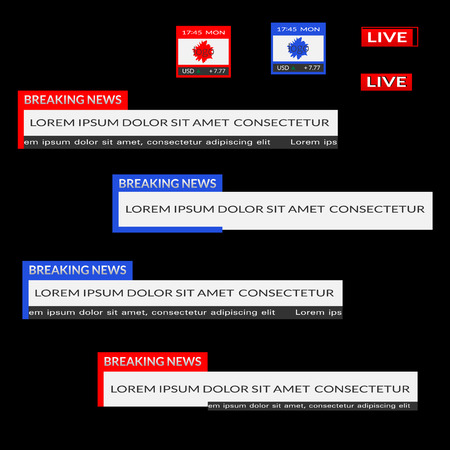 Set of red and blue lower third banners. Breaking news, live, date, currency bar screen broadcast. Vector flat illustration isolated on black background
