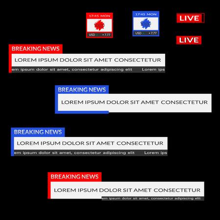 Set van rode en blauwe onderste derde banners. Breaking nieuws, live, datum, valuta bar scherm uitzending. Vector platte illustratie geïsoleerd op zwarte achtergrond