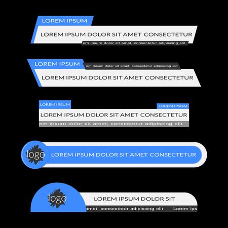 Bannières du tiers inférieur bleu. Barres d'écran diffusées. Illustration vectorielle plane isolée sur fond noir Banque d'images - 78578400