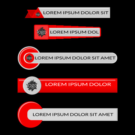 Red lower third banners. Screen bars broadcast. Flat vector illustration isolated on black background
